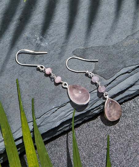 f9d5757a0 love this product Rose Quartz & Sterling Silver Teardrop Earrings