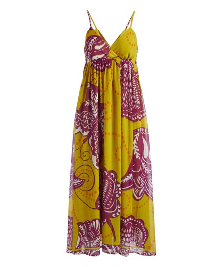 love this product Green   Purple Butterfly Maxi Dress - Women 052602f596