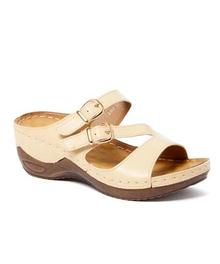 59b4389f426e Styluxe Beige Tiki Dual-Buckle Sandal - Women
