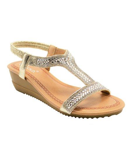 a1098ec0a8a Golden Road Gold Embellished Wedge Sandal - Women