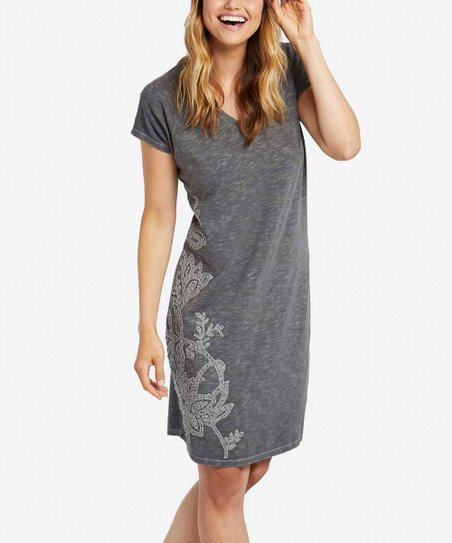 2dc66f4a31fd love this product Slate Gray Blooming Embroidery Slub T-Shirt Dress - Women