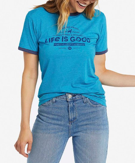 Life is Good Timeless Values Womens Ringer Cool Tee Seaport Blue