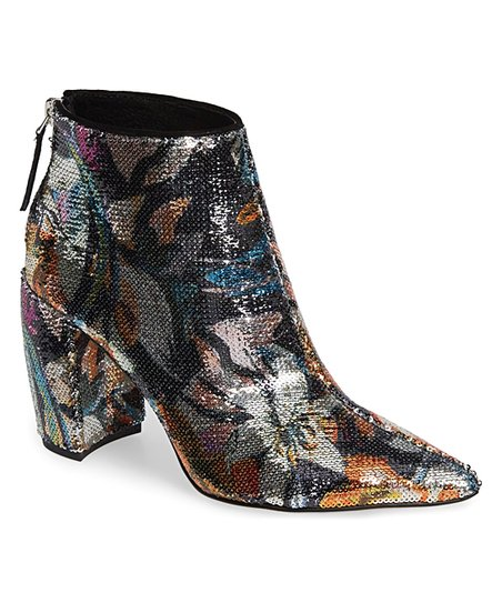 c99cd62471d Kenneth Cole New York Silver   Black Alora Floral Sequin Bootie ...