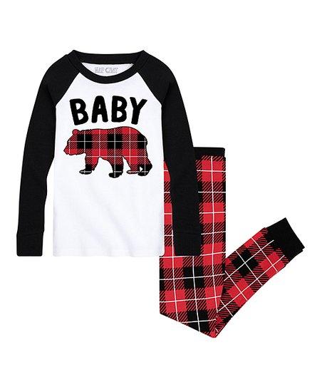 White &Amp; Black Buffalo Plaid 'baby Bear' Jogger Pajama Set   Infant, Toddler &Amp; Kids by Nap Chat Family