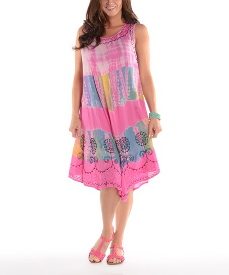 7a1c020cb3 love this product Pink Tie-Dye Embroidered Sleeveless Dress - Women   Plus.  SKU SHORELINE 21409NP PINK  In stock
