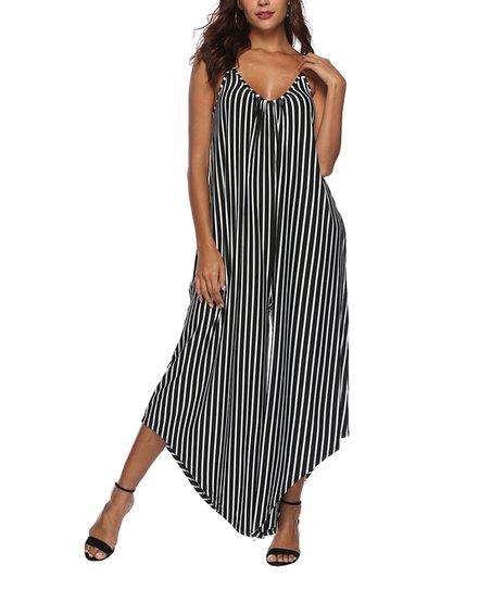efc8173e823 love this product Black   White Stripe Wide-Leg Jumpsuit - Women
