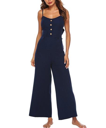 c752bdd453e love this product Navy Blue Button-Front Wide-Leg Jumpsuit - Women