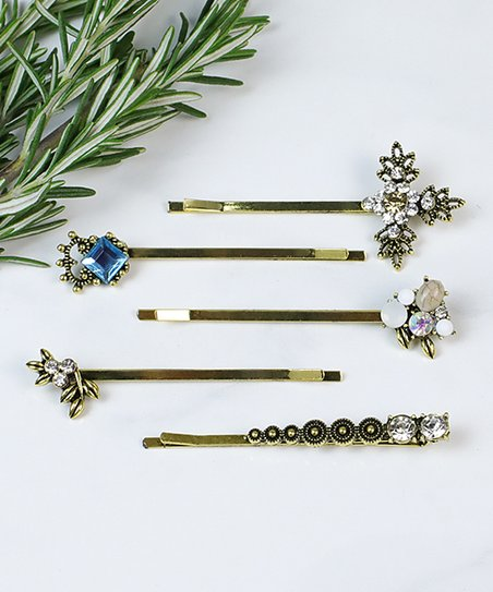 Funky Monkey Rhinestone Goldtone Retro Glam Five Piece Bobby Pin