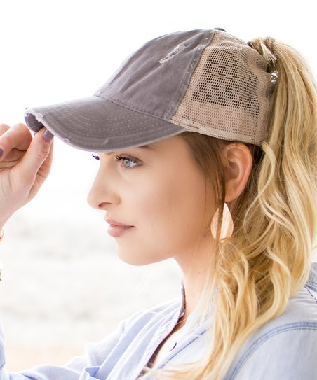 Ailis Corner Gray   Beige Distressed Ponytail Trucker Hat  fef3e5457cb