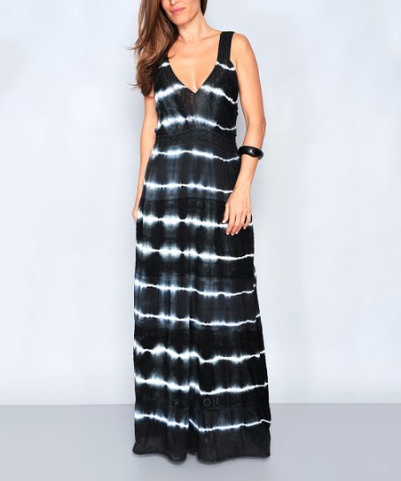 Hhg Black Stripe Tie Dye V Neck Maxi Dress Women Zulily