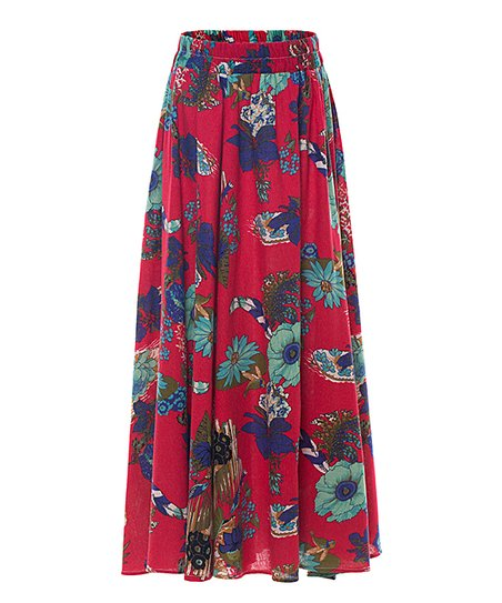 bcaccd68e love this product Red Floral Linen-Blend Skirt - Women