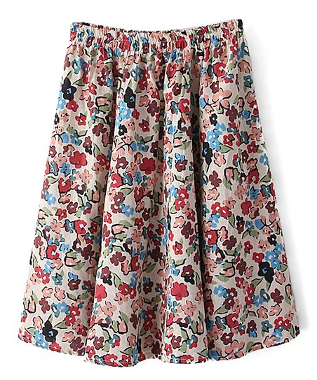 aeae06ded love this product Red Floral Linen Skirt - Women