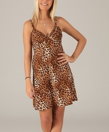 1d0107e8cb Aller Simplement Brown Leopard Sleeveless V-Neck Dress - Women