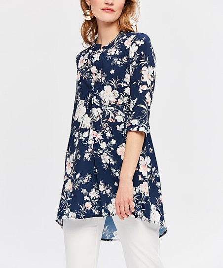 13801b99b30 love this product Navy & White Floral Tunic - Women