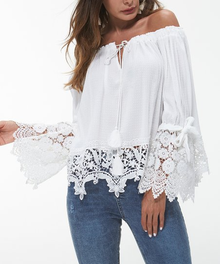 64e0fe0fe3 Maison Mascallier White Lace Bell-Sleeve Off-Shoulder Top - Women ...