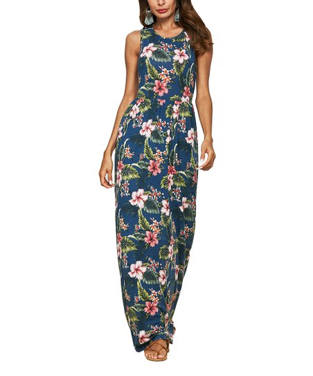 20085877202 love this product Navy Floral Pocket Sleeveless Maxi Dress - Women