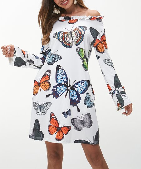 d55b377f5aa Maison Mascallier White Butterfly Off-Shoulder Dress - Women