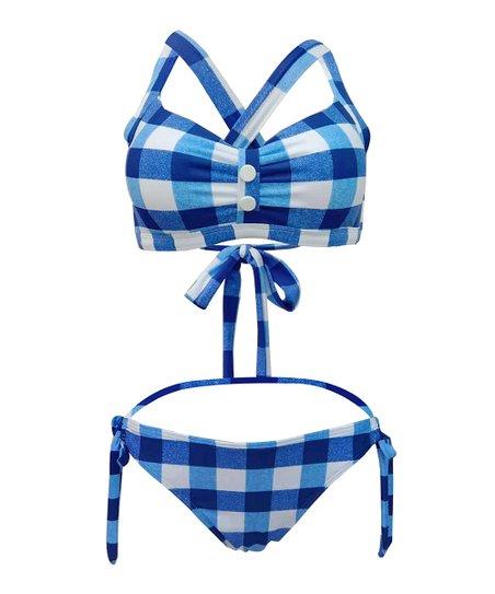 e690a822668e9 Coeur de Vague Blue Plaid Bikini Top   Bikini Bottoms - Women