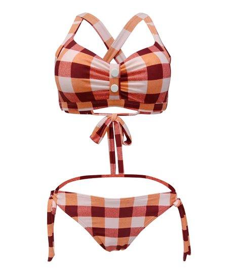 1291acee19394 love this product Red Plaid Bikini Top   Bikini Bottoms - Women