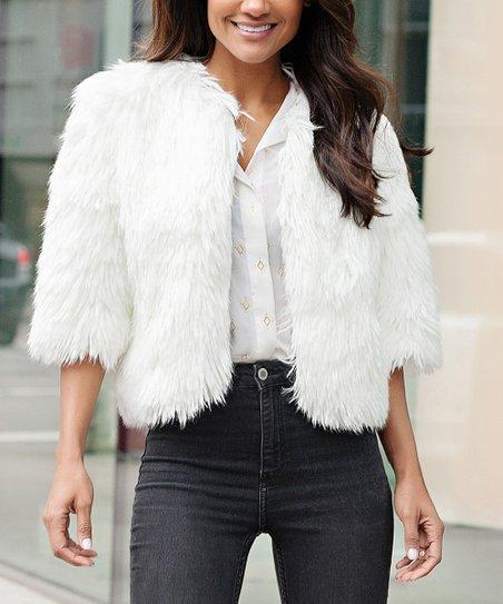0cca1561cf0 Donna Salyers Fabulous-Faux Furs Ivory Faux Fur Crop Jacket - Plus ...