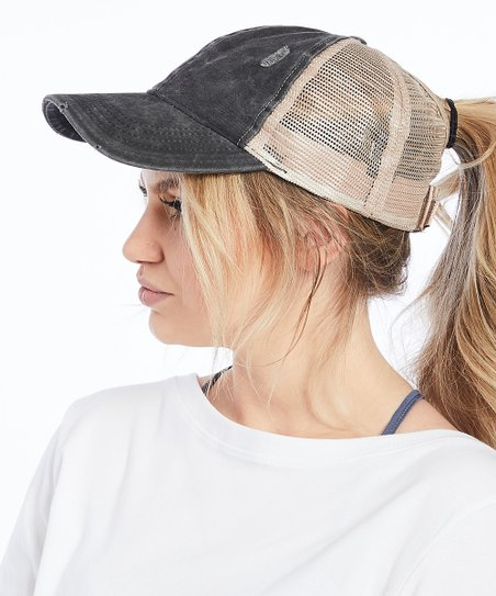 446cf8f1 Ponyflo by David & Young Black Distressed Ponyflo Trucker Hat | Zulily