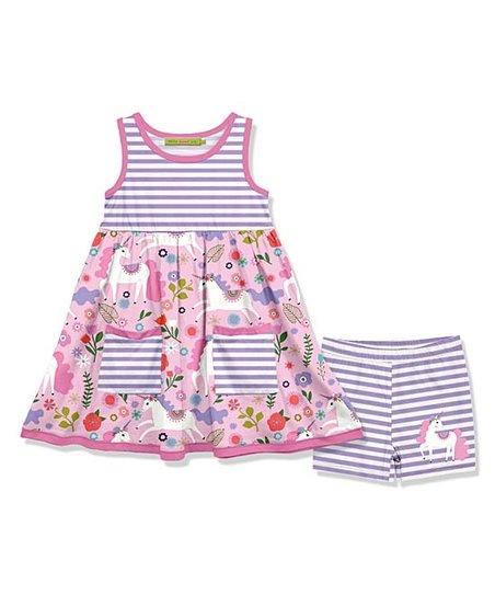 f2eb0ea30005 love this product Purple & Pink Unicorn Pocket A-Line Dress & Stripe Shorts  - Toddler & Girls