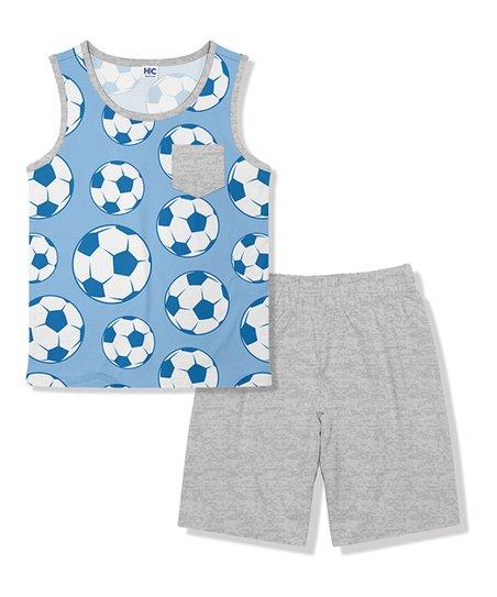 ffae82ad8 HighFive Crew Blue Soccer Ball Tank & Heather Grey Shorts Set ...