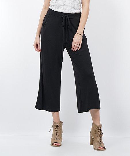 Black Cropped Drawstring Lounge Pants Women Zulily