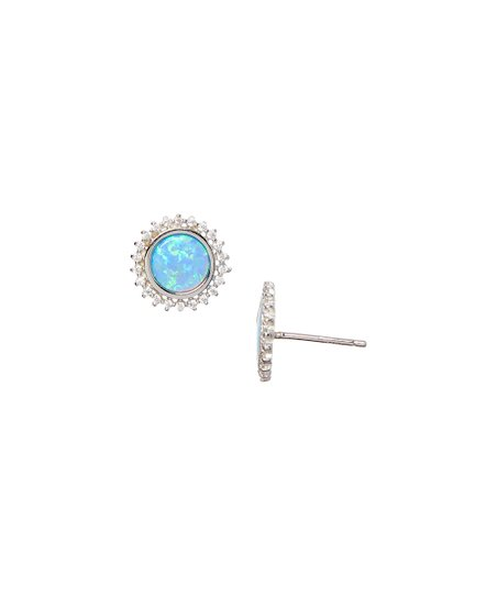 Blue Fire Opal Sterling Silver Sunburst Stud Earrings