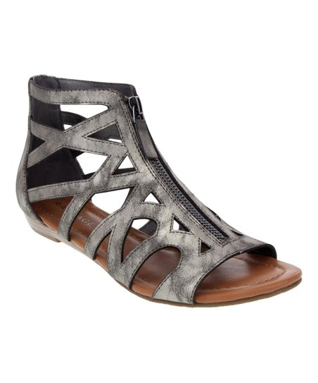 4100908386aa love this product Pewter Zip-Front Strappy Gladiator Sandal - Women