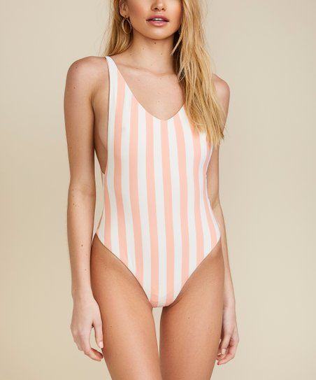 d1e975471d9f Dippin Daisys Swimwear Coral Stripe Low-Back Cheeky One-Piece ...