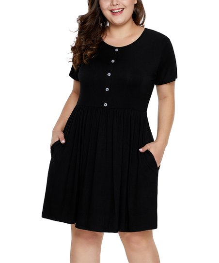 e9150743f4c love this product Black Button-Down Pleated Pocket Fit   Flare Dress - Women