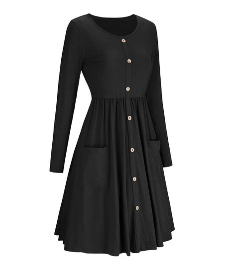917f87ac8a6 love this product Black Button-Down Pocket Fit   Flare Dress - Women