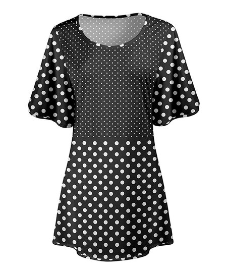 bf4c587d921 love this product Black & White Polka Dot Wide-Sleeve Tunic - Women & Plus