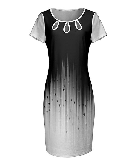 Lily Black White Ombré Color Block Cutout Sheath Dress Women Plus