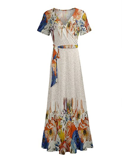 30fb09d3f06 love this product Red   Blue Floral Short-Sleeve Wrap Maxi Dress - Women    Plus