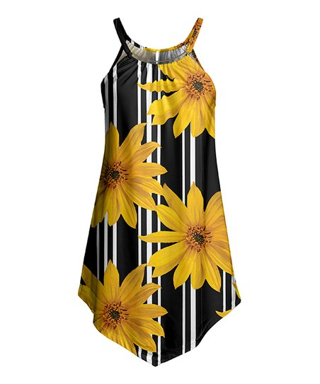 9bac4fdbcac3 love this product Black & Gold Floral Stripe Cami-Strap Sleeveless Tunic -  Women & Plus