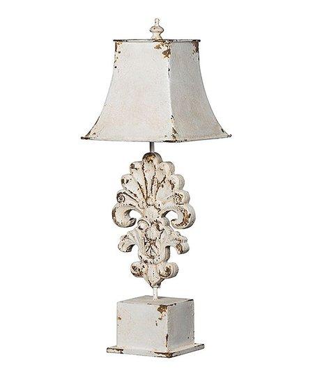 Cream Distressed Fleur De Lis Table Lamp