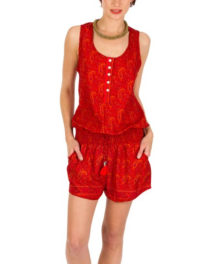 f6dede396c6f love this product Red Paisley Button-Front Romper - Women