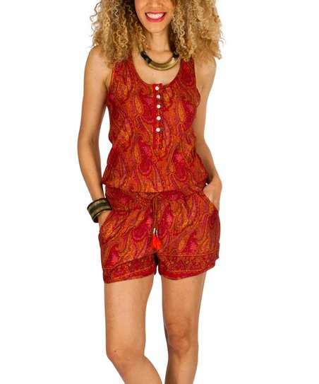 7dd8c47889b7 love this product Orange   Red Paisley Button-Front Romper - Women