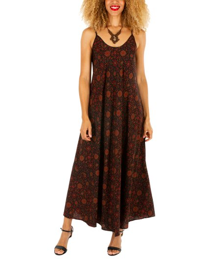 a9a79e322679 ipanima Black   Brown Floral Maxi Dress - Women