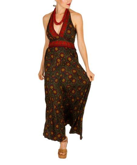 5ef706f4dd51 ipanima Khaki   Red Floral V-Neck Halter Maxi Dress - Women