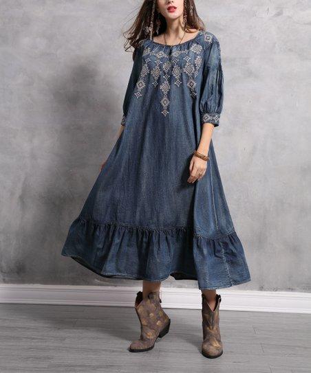 4729f141f Vicky and Lucas Denim Blue Geometric-Embroidered Ruffle Shift Dress - Women