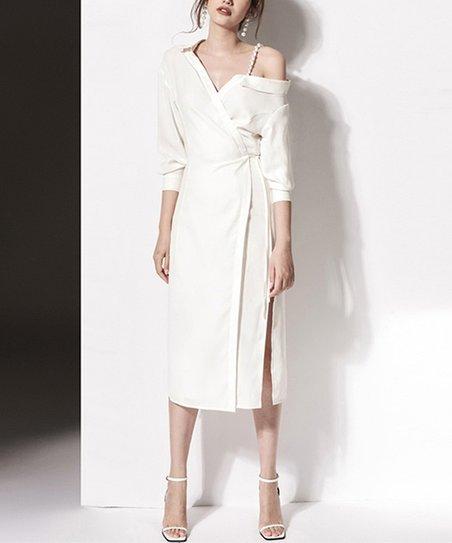 White Asymmetrical Wrap Dress