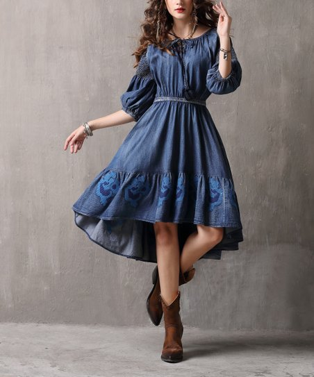 b4dedbafc0 Vicky and Lucas Denim Blue Embroidered Peasant Dress - Women