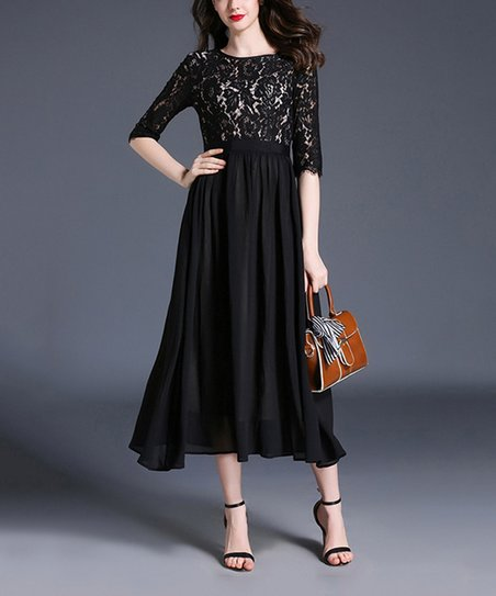 ff11f3ed8ae6 Vicky and Lucas Black Lace Top Half-Sleeve Midi Dress - Women | Zulily