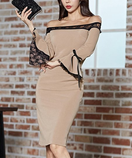 d5a1864af136 love this product Khaki Bell-Sleeve Lace-Accent Off-Shoulder Dress - Women