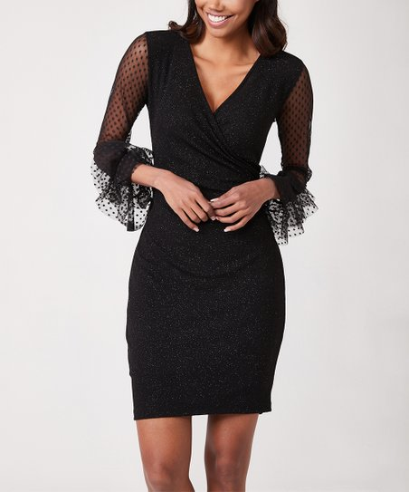 love this product Black V-Neck Mesh-Sleeve Dress - Women da5451a1b