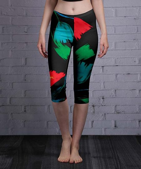 96709e7f1ec Lily Black & Green Abstract Capri Leggings - Women & Plus