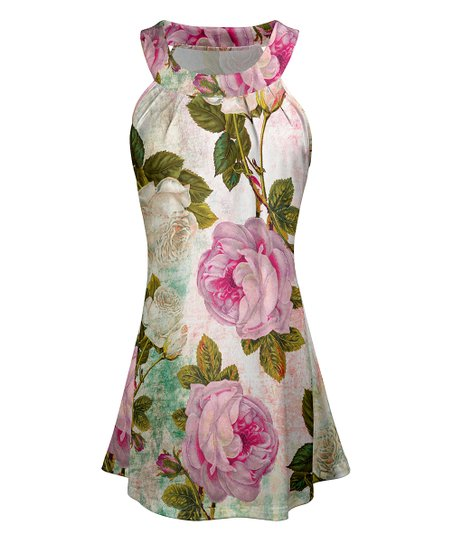a7266c40ff5 love this product Pink & Green Floral High-Neck Halter Tunic - Women & Plus